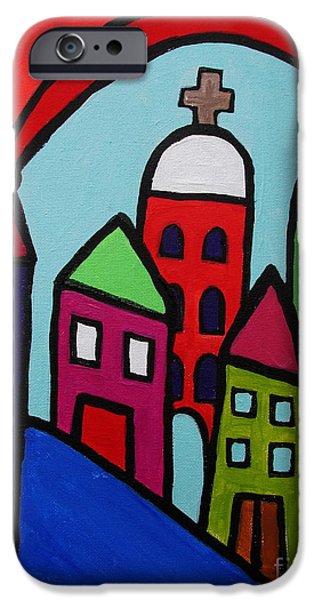 Church Pillars Paintings iPhone Cases - Mexican Pueblo Ii iPhone Case by Pristine Cartera Turkus