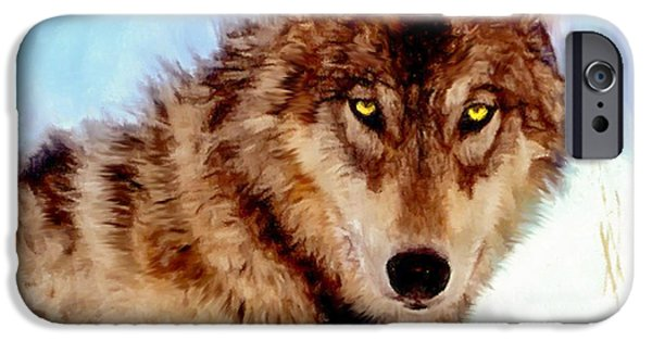 Snow iPhone Cases - Mexican Wolf Painting iPhone Case by  Nadine Johnston