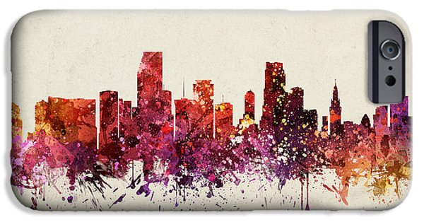 Miami Drawings iPhone Cases - Miami Cityscape 09 iPhone Case by Aged Pixel
