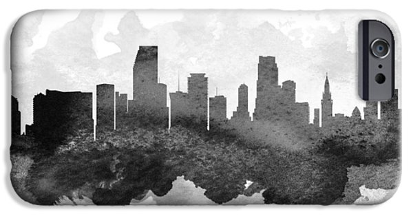 Miami Digital Art iPhone Cases - Miami Cityscape 11 iPhone Case by Aged Pixel