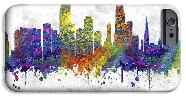 Miami Drawings iPhone Cases - Miami Florida Skyline Color 03SQ iPhone Case by Aged Pixel