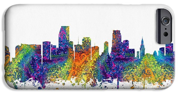 Miami Digital Art iPhone Cases - Miami Florida skyline color03 iPhone Case by Aged Pixel