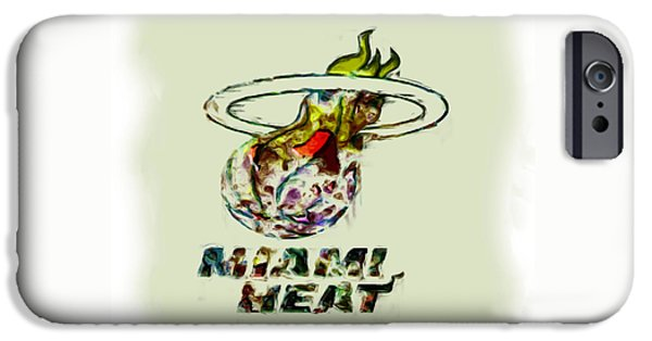 Lebron James Mixed Media iPhone Cases - Miami Heat iPhone Case by Brian Reaves