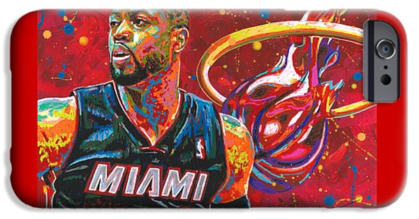 D Wade Paintings iPhone Cases - Miami Heat Legend iPhone Case by Maria Arango