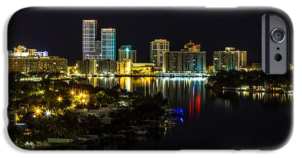 Lights At Night Pyrography iPhone Cases - Miami Skyline  iPhone Case by Satoshi Kina