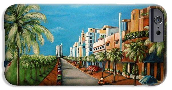 Beach Landscape iPhone Cases - Miami View iPhone Case by Dyanne Parker