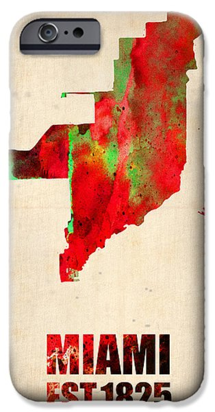 Street Mixed Media iPhone Cases - Miami Watercolor Map iPhone Case by Naxart Studio