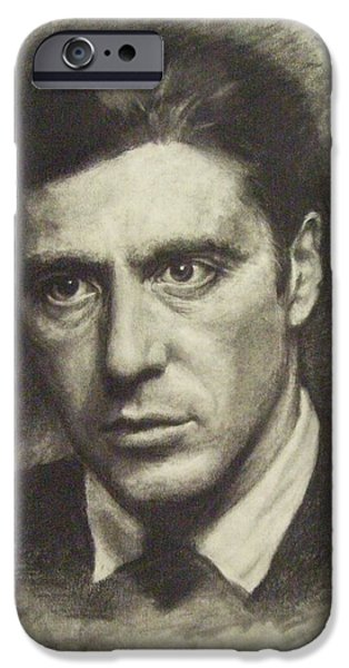 Al Pacino Drawings iPhone Cases - Michael Corleone iPhone Case by Cynthia Campbell