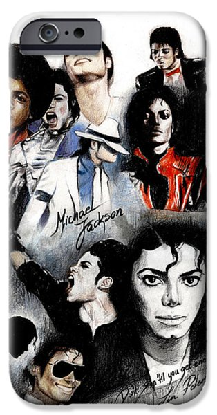 King iPhone Cases - Michael Jackson - King of Pop iPhone Case by Lin Petershagen