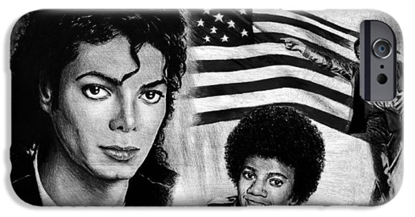 Michael Jackson Sketch iPhone Cases - Michael Jackson iPhone Case by Andrew Read