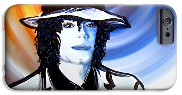 King Of Pop. Dancer iPhone Cases - Michael Jackson White Fedora Alcohol Inks iPhone Case by Danielle  Parent