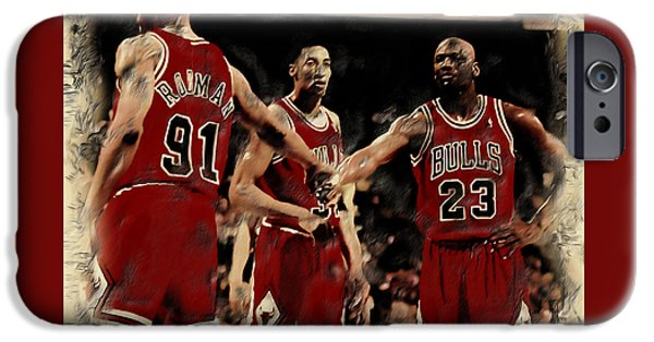 Charles Barkley iPhone Cases - Michael Jordan and Crew iPhone Case by Brian Reaves