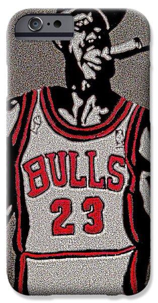 Mj Drawings iPhone Cases - Michael Jordan BULLS iPhone Case by Breanna Lewis
