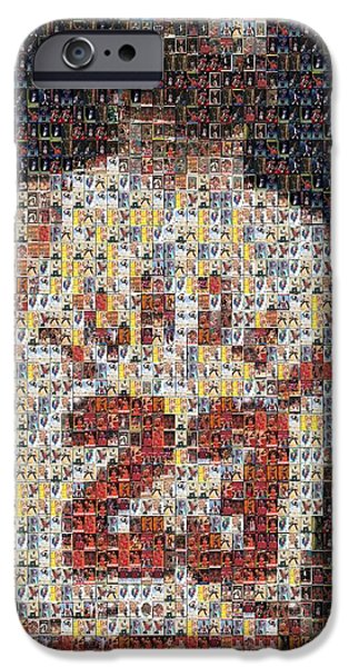 Bulls Mixed Media iPhone Cases - Michael Jordan Card Mosaic 2 iPhone Case by Paul Van Scott