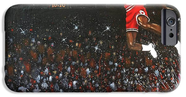 Chicago Paintings iPhone Cases - Michael Jordan Custom Painting iPhone Case by Roly Orihuela
