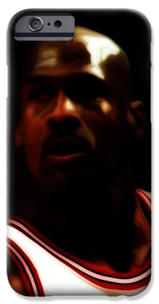 John Stockton iPhone Cases - Michael Jordan Game Time iPhone Case by Brian Reaves