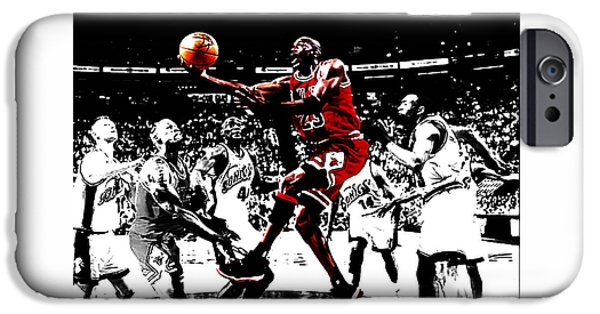Charles Barkley iPhone Cases - Michael Jordan Caught em Looking iPhone Case by Brian Reaves