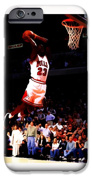 Michael Mixed Media iPhone Cases - Michael Jordan in Flight 7c iPhone Case by Brian Reaves