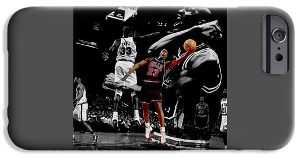Charles Barkley iPhone Cases - Michael Jordan Left Hand II iPhone Case by Brian Reaves