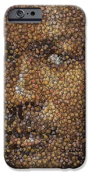 Michael Jordan Money Mosaic iPhone Case by Paul Van Scott