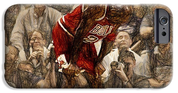 Dunk Paintings iPhone Cases - Michael Jordan The Flu Game iPhone Case by John Farr