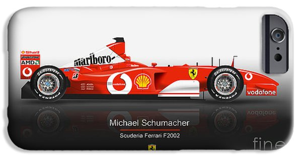 Michael Schumacher iPhone Cases - Michael Schumacher - Ferrari F2002 iPhone Case by Jeremy Owen