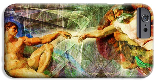 Michaelangelo iPhone Cases - Michelangelo The Creation of Adam in Abstract Space 20150622 iPhone Case by Wingsdomain Art and Photography