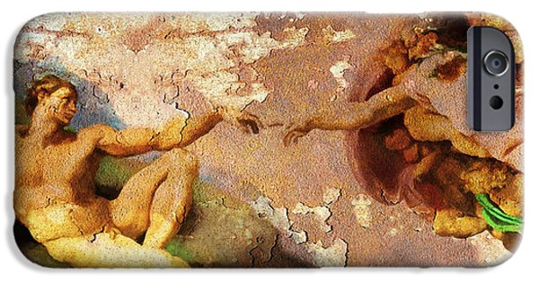 Michaelangelo iPhone Cases - Michelangelo The Creation of Adam in Rust 20150622 iPhone Case by Wingsdomain Art and Photography