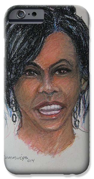 Michelle Obama Portrait iPhone Cases - Michelle Obama iPhone Case by John Cummings