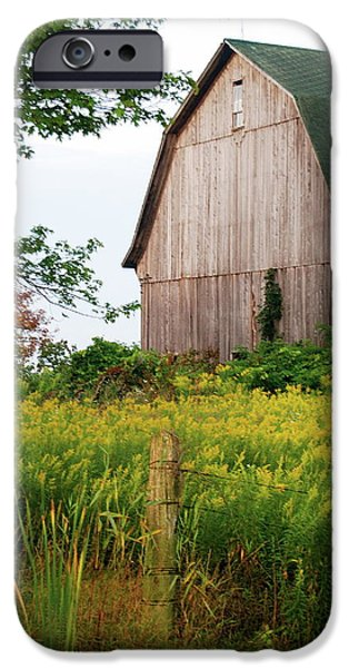 Old Fence Posts iPhone Cases - Michigan Barn iPhone Case by Michael Peychich