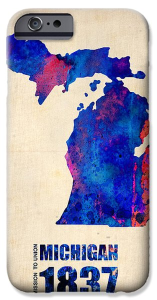 Universities Digital iPhone Cases - Michigan Watercolor Map iPhone Case by Naxart Studio