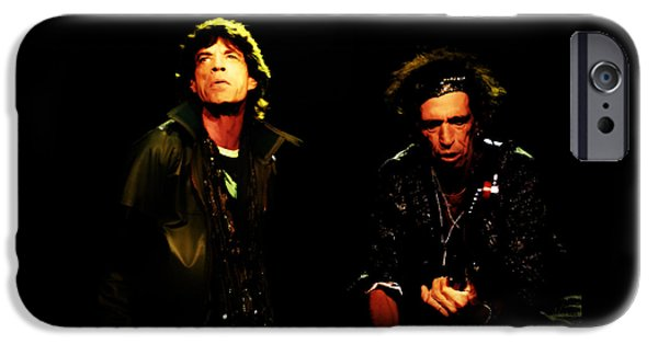 Keith Richards iPhone Cases - Mick Jagger and Keith Richards 4e iPhone Case by Brian Reaves