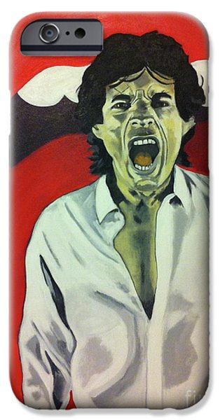 Mick Jagger Paintings iPhone Cases - Mick Jagger iPhone Case by Carla Bank