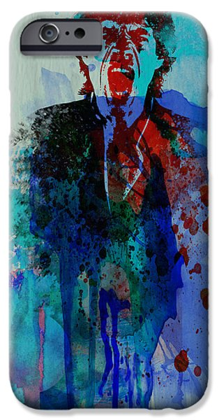 Mick Jagger Paintings iPhone Cases - Mick Jagger iPhone Case by Naxart Studio