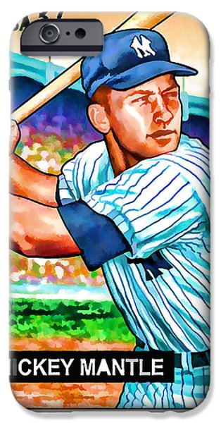 Baseball Uniform Paintings iPhone Cases - Mickey Mantle iPhone Case by Lanjee Chee