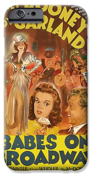 Posters On Mixed Media iPhone Cases - Mickey Rooney and Judy Garland - Babes on Broadway 1941 iPhone Case by Mountain Dreams