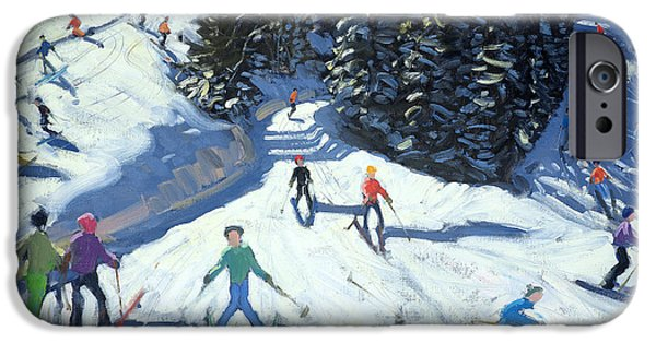 Austrian iPhone Cases - Mid-morning on the Piste iPhone Case by Andrew Macara