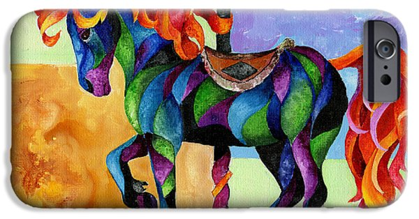 Carousel Horse Paintings iPhone Cases - Midnight Fire iPhone Case by Sherry Shipley