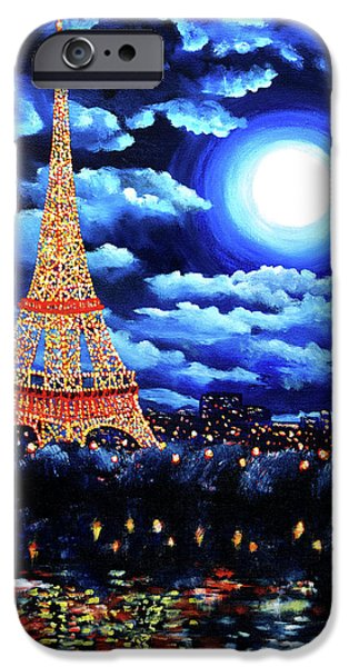 Surreal Landscape iPhone Cases - Midnight in Paris iPhone Case by Laura Iverson