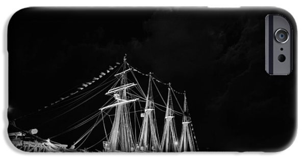 Tall Ship iPhone Cases - Midnight in Pensacola Black and White iPhone Case by JC Findley