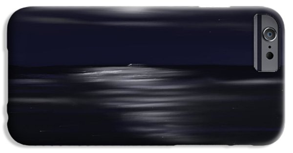 Abstract Seascape Pastels iPhone Cases - Midnight Moonlight iPhone Case by Jerod Roberts