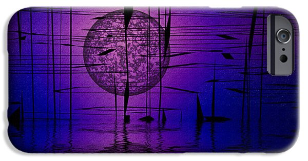Abstract Digital Mixed Media iPhone Cases - Midnight Reeds iPhone Case by Mario Carini