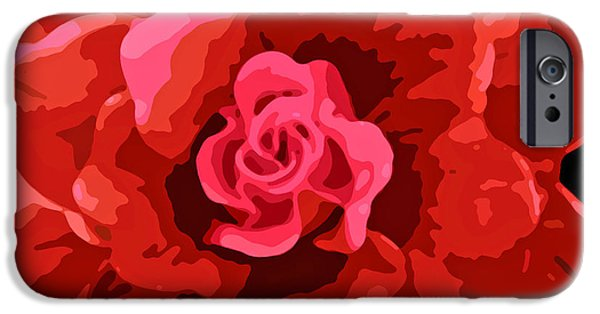 Abstract Digital Photographs iPhone Cases - Midnight Rose iPhone Case by Jean Hall
