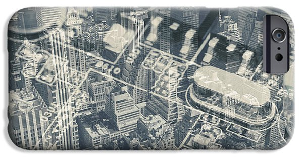 Technology iPhone Cases - Midtown Manhattan and the Computer motherboard collage iPhone Case by Jaroslav Frank