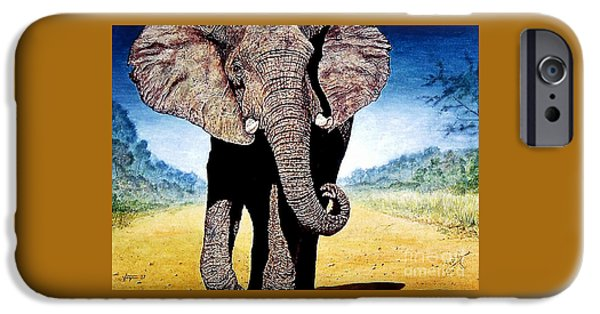 Elephants iPhone Cases - Mighty Elephant iPhone Case by Hartmut Jager