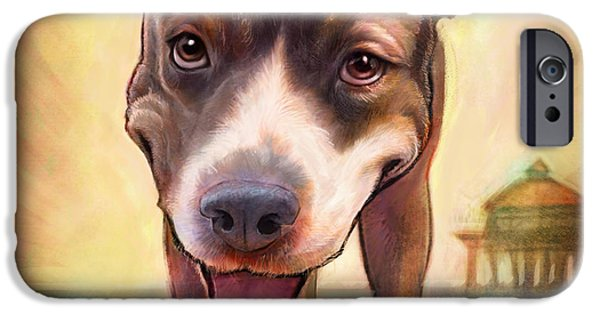 Dogs Paintings iPhone Cases - Mighty Isis iPhone Case by Sean ODaniels