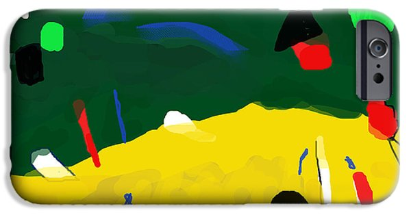 Ruin iPhone Cases - Migrant Beach   After Miro  iPhone Case by Paul Sutcliffe
