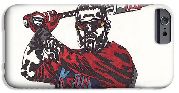 Boston Red Sox iPhone Cases - Mike Napoli iPhone Case by Jeremiah Colley