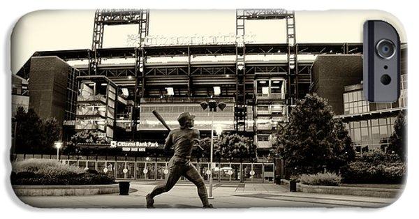 Philadelphia Phillies Stadium Digital Art iPhone Cases - Mike Schmidt in Sepia iPhone Case by Bill Cannon