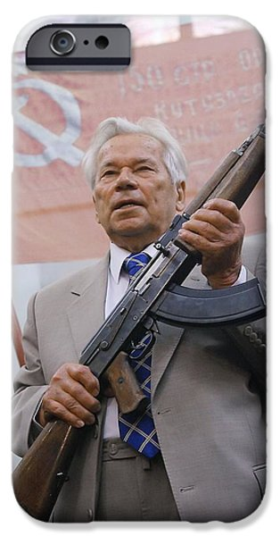 Technological iPhone Cases - Mikhail Kalashnikov, Russian Gun Designer iPhone Case by Ria Novosti